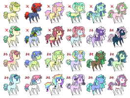 Pony Adoptables Batch Four CLOSED by PeachyKat