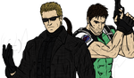 Wesker and Chris -- Coloured Sketch by The-Bone-Snatcher