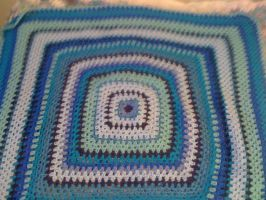 Blues So Bad Granny Square Blanket by lovechairmanmeow