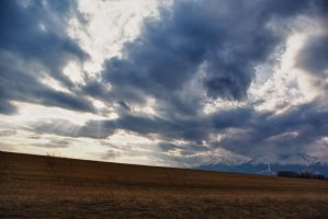 Fields clouds and mountains by minko2312