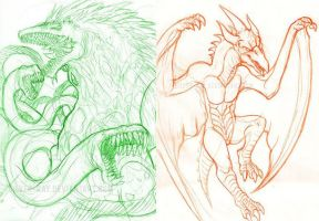 Kaiju sketch dump -2011 Art Jam by Silver-Ray