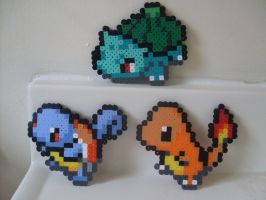 Pokemon: Perler Bead Kanto Starters by heatbish