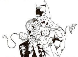 Batman fighting Two-Face by wishful-puppeteer