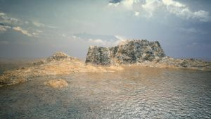Practice - Terrain creation  and sea shading test by Andywong75