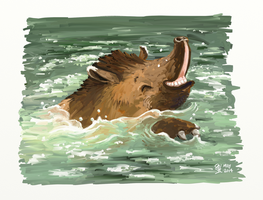 Joy is a splashing tapir by bonzaialsatian