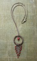 Red Pearl Flower and Leaf Necklace by longlivethisnerd
