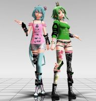 Crown Miku and Gumi MMD download by Reon046
