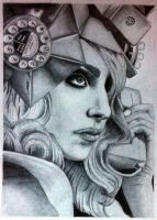 Celebrity Drawings - Lady GaGa by CharSpivey