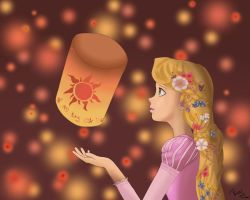 Tangled - Rapunzel - Lanterns by UkeCloud