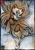 Ghost Fox [ACEO] by TeaKitsune