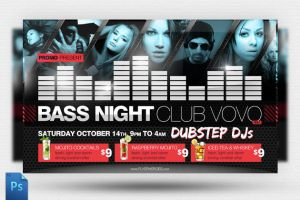 Bass Night Flyer Template by quickandeasy1