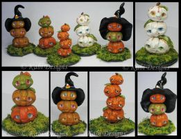 Handmade Polymer Clay Little Fantasy Totem Pumpkis by KabiDesigns