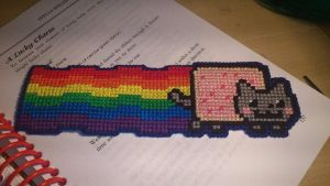 Cross Stitch Nyancat bookmark by passionfyre