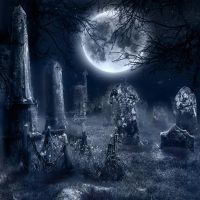 Premade BG Graveyard in Moonlight by E-DinaPhotoArt