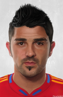 David Villa  -  digital painting portrait by fawwaz1