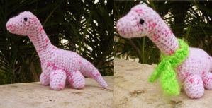 pink dino, with scarf by antichange
