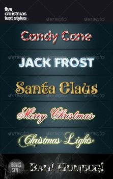 5 Christmas Text Styles by PhotoshopStyles