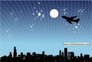Vector Night City Scene by 123freevectors