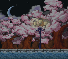 Cherry Blossom Night Path Custom Background by EightQueens