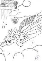 Rainbow Dash ( Crash :P ) ~ Outlines by Lunell
