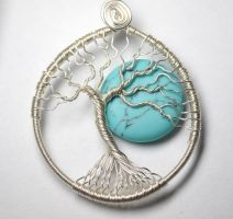 Once in a Blue Moon Tree of Life Pendant by LoneWolfjewelry