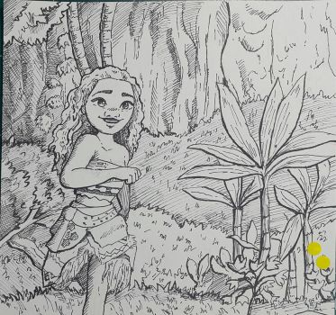 moana fan art pen drawing by KR-Dipark