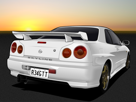 V - Nissan Skyline R34 GT-T by me-myself