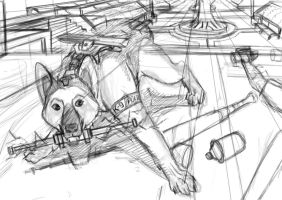 German Shepperd Sketch by Loone-Wolf