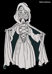 cloaked woman by rubbe