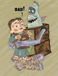 boxtrolls: baby your hug dad fish. by mxaca1967
