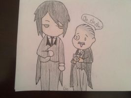 Sebastian Michaelis and Tanaka chibis by carebear19364