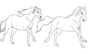 two horses free lineart by naomithewolf