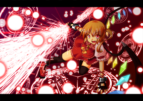 Flandre Scarlet with danmaku by freezeex