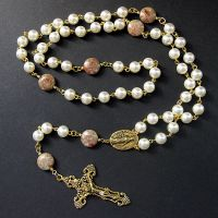 Rosary in Rhodonite and Pearl by Gilliauna