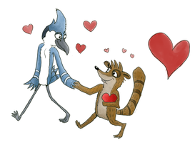 Mordecai and Rigby by kat-in-the-box
