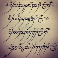 Lord of the rings...trying out Calligraphy... :)  by emilythestranger