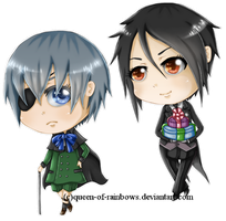 Ciel + Sebastian Chibis by queen-of-rainbows