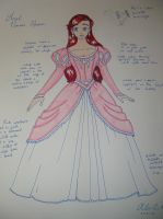 Ariel Pink Ballgown Costume Sketch by AllenGale