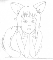 Meg Catgirl-line art by SmallBell