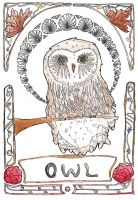 Art Nouveau Owl by Goats-On-A-Boat