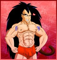 Raditz Flexing his pecs by Paradise-of-Darkness