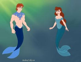 Lawrence Talbot and Laura Talbot as merpeople by heart8822