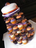 Purple and Orange Wedding Cupcake Tower by SugarplumB