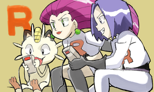 Jessie, James and Meowth Playing Pokemon Red by AlSanya