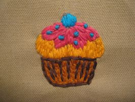 Embroidered Cupcake by TheCrimsonCrow