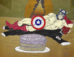 Captain American Beefcake - Birthday Gift by LordNobleheart