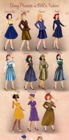 Disney Princesses in 1940s Fashion by Basak Tinli by BasakTinli