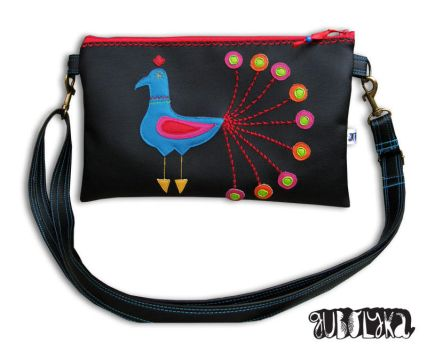 Hungarian peacock envelope bag by Gubolyka
