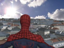 Spiderman overlooking the city by UndeadPixelArmy