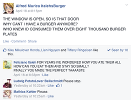 Hetalia Facebook: For the First Time in a Burger by gilxoz-epicness